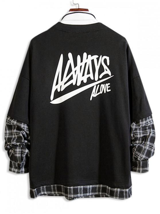 hot Letter Print Plaid Spliced Faux Twinset Sweatshirt - BLACK M