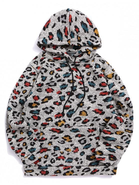 best Leopard Pattern Kangaroo Pocket Casual Hoodie - MULTI-A S