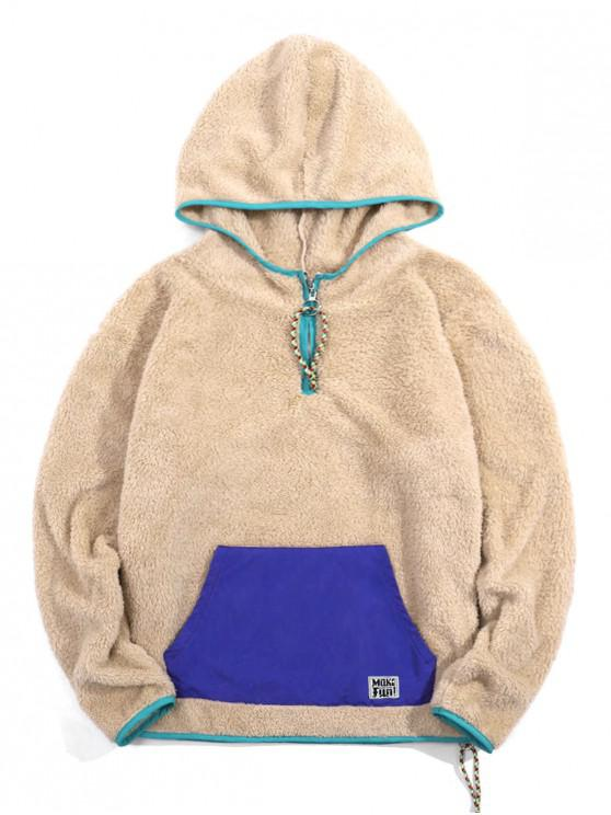 shop Color Blocking Quarter Zip Fluffy Hoodie - LIGHT KHAKI M