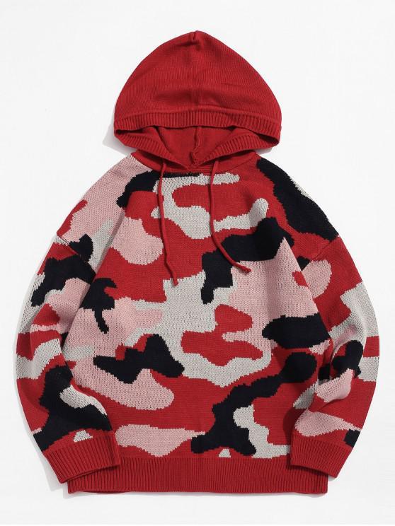 迷彩グラフィックドロップショルダーフード付きセーター - 赤 2XL