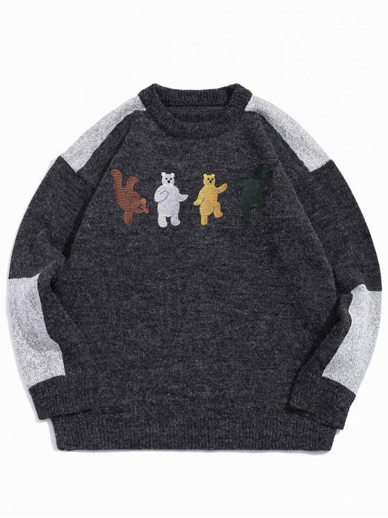 outfit Cartoon Bear Embroidery Colorblock Spliced Sweater - DARK GRAY M