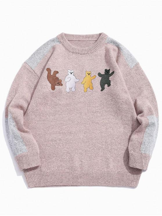 chic Cartoon Bear Embroidery Colorblock Spliced Sweater - KHAKI 2XL