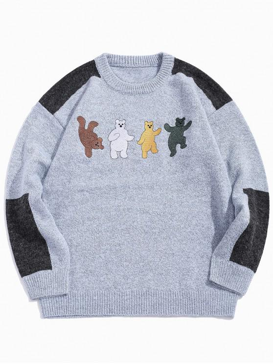 sale Cartoon Bear Embroidery Colorblock Spliced Sweater - BLUE GRAY XL