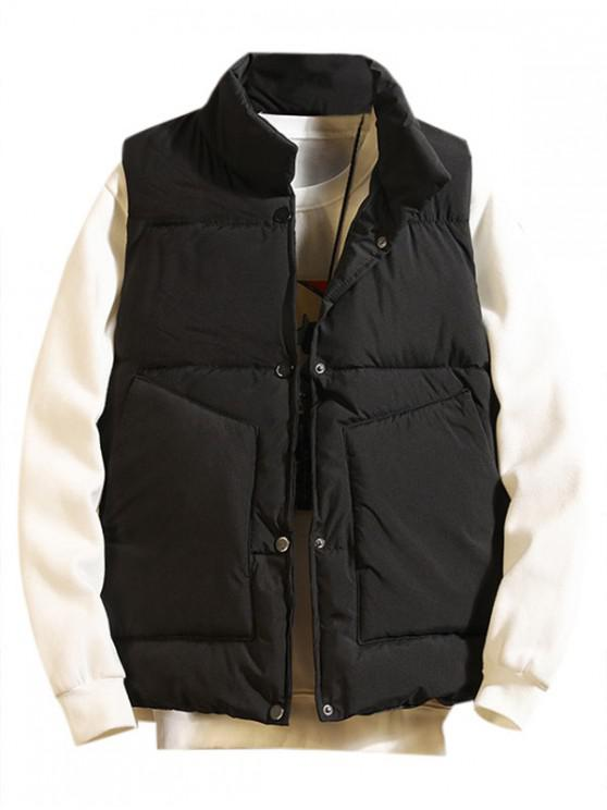 shops Solid Color Button Up Padded Waistcoat - BLACK 2XL