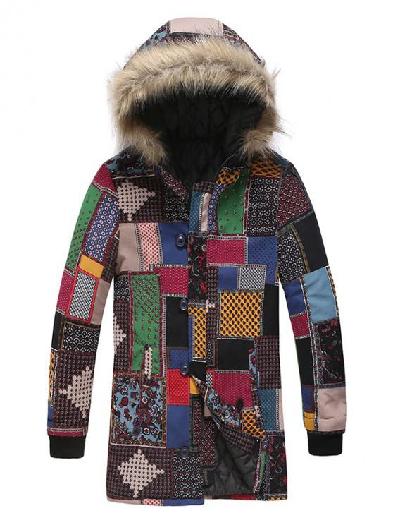 chic Tribal Floral Geometric Spliced Hooded Padded Coat - MULTI-C 3XL