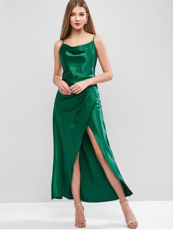 unique Overlap Satin Draped Asymmetrical Cami Dress - GREEN M