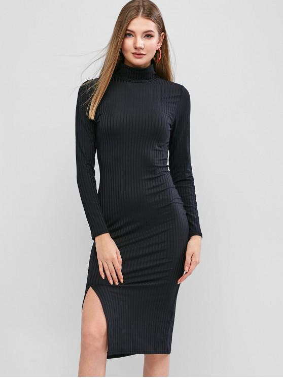 shops Long Sleeve High Neck Slit Midi Bodycon Dress - BLACK S