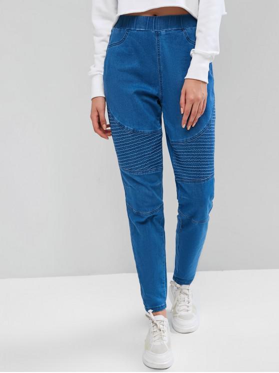 fashion High Waisted Stretchy Slim Biker Jeans - LIGHT BLUE XL