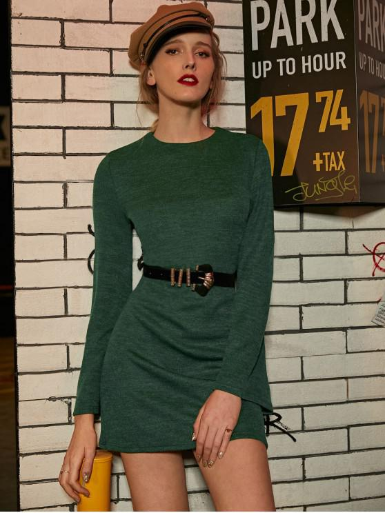new ZAFUL Knitted Flare Sleeve Ribbed Mini Dress - DEEP GREEN L