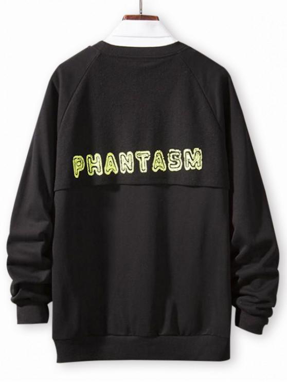 hot Letter Print Spliced Casual Raglan Sleeve Sweatshirt - BLACK XS