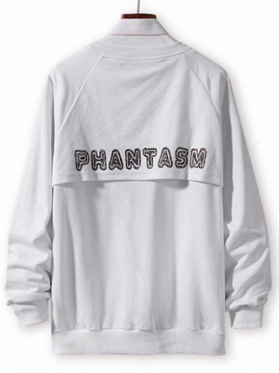 affordable Letter Print Spliced Casual Raglan Sleeve Sweatshirt - WHITE XS