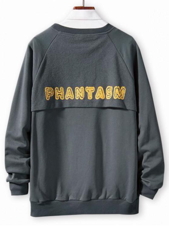 shop Letter Print Spliced Casual Raglan Sleeve Sweatshirt - CLOUDY GRAY XS