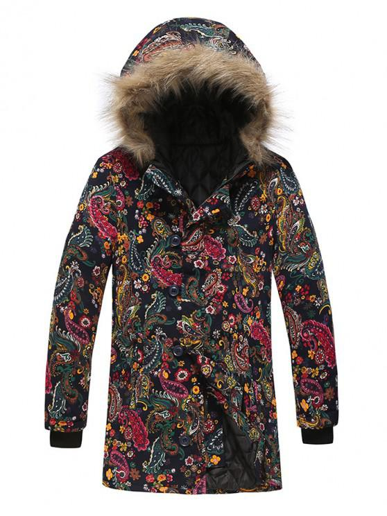lady Paisley Floral Tribal Print Long Hooded Padded Coat - MULTI-F 3XL