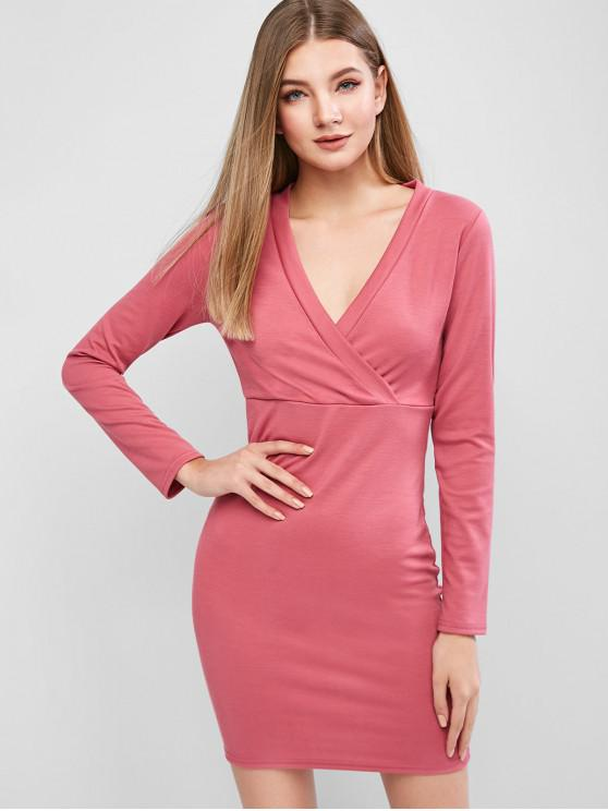 lady Ribbed Surplice Long Sleeve Fitted Dress - ROSE RED S