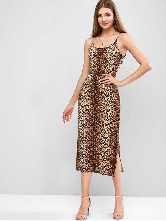 womens ZAFUL Slit Leopard Print Cami Dress - LEOPARD M