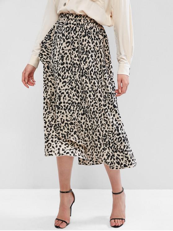 shop ZAFUL Leopard Print Overlap Mid Calf Skirt - MULTI-A L