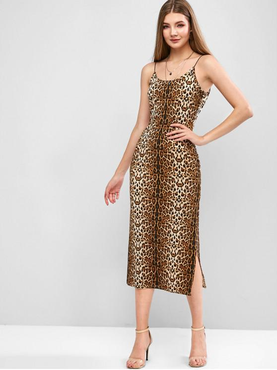 outfit ZAFUL Slit Leopard Print Cami Dress - LEOPARD L