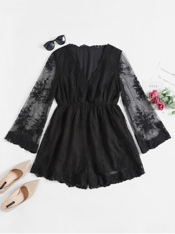 lady ZAFUL Flower Lace Plunging Wide Leg Romper - BLACK L