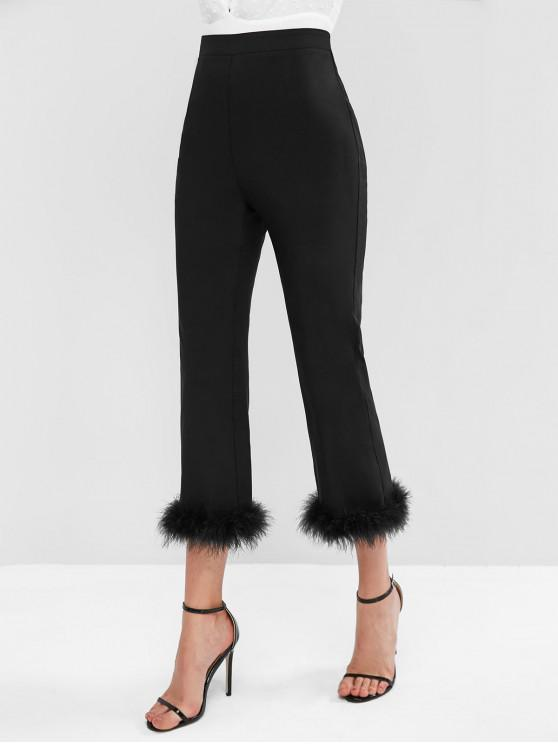 sale ZAFUL Side Zipper Fuzzy Hem High Waisted Straight Pants - BLACK L