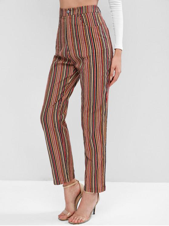 hot ZAFUL Colorful Striped Velvet Pocket Pencil Pants - MULTI-A M