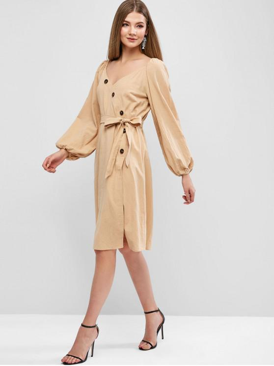 shops ZAFUL Plunge Neck Lantern Sleeve Slit Belted Dress - LIGHT KHAKI S