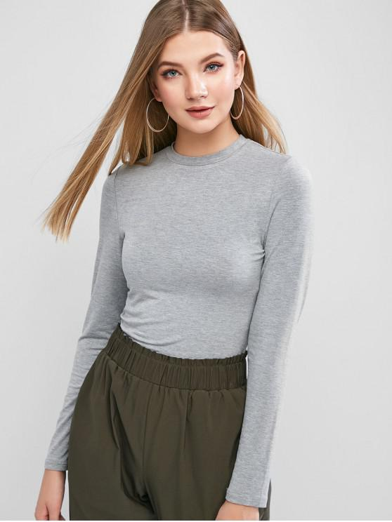 affordable ZAFUL Long Sleeve Heather Basic T-shirt - GRAY CLOUD M