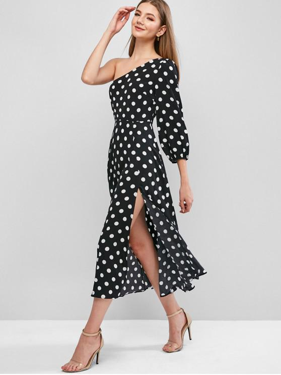buy ZAFUL Polka Dot One Shoulder Slit Dress - BLACK S