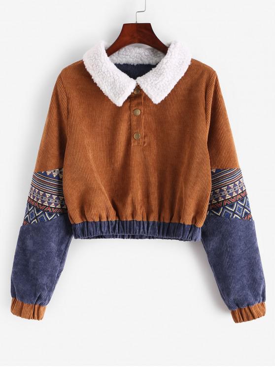 online Snap Button Graphic Corduroy Sweatshirt - LIGHT BROWN S