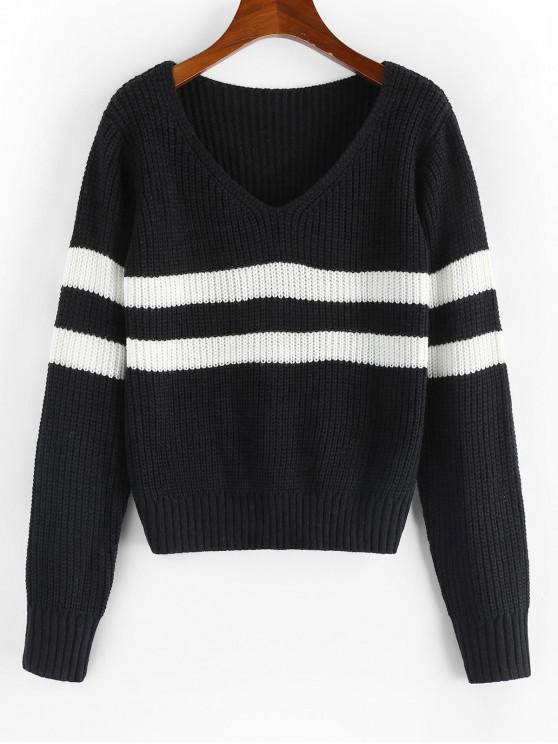 women's ZAFUL Striped V Neck Jumper Sweater - BLACK S