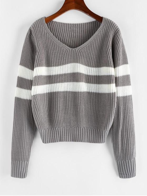 ZAFUL Streifen V-Ausschnitt Pullover - Grau S