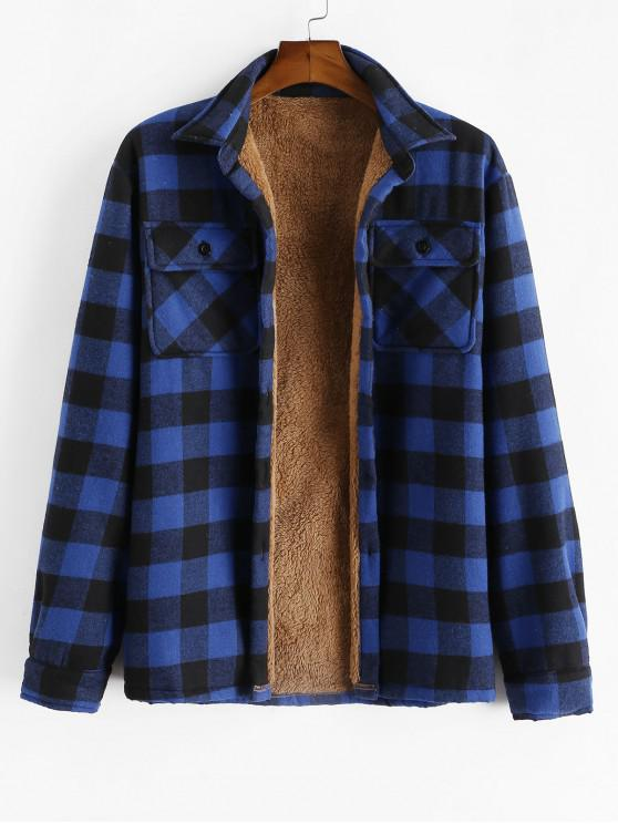 outfits ZAFUL Chest Pocket Plush Button Plaid Jacket - BLUE L