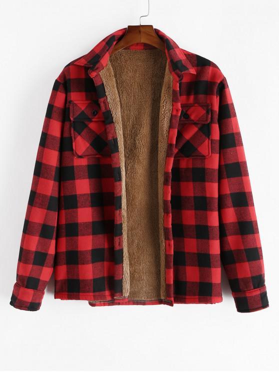 latest ZAFUL Chest Pocket Plush Button Plaid Jacket - RED M