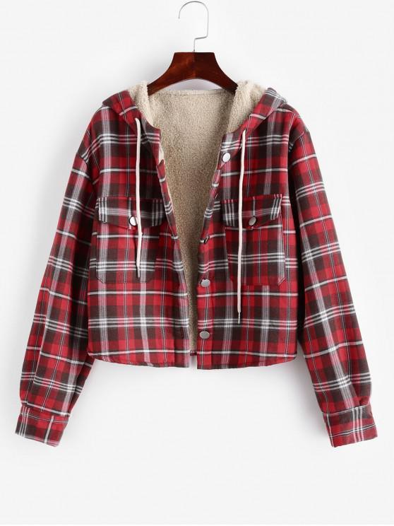 Solapa con bolsillos y botones paño grueso y suave línea de captura a cuadros chaqueta - Rojo Cereza S
