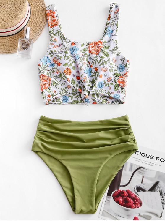 women ZAFUL Ruched Knot Plant Print Tankini Swimsuit - GREEN ONION S