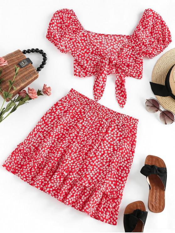 shop ZAFUL Ditsy Floral Knot Flounce Two Piece Skirt Set - MULTI S