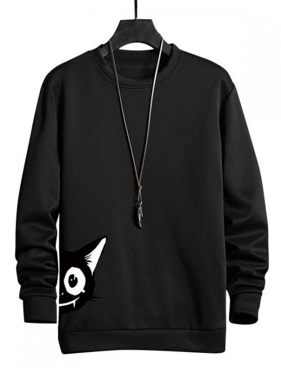 shop Cartoon Cat Print Casual Sweatshirt - BLACK S