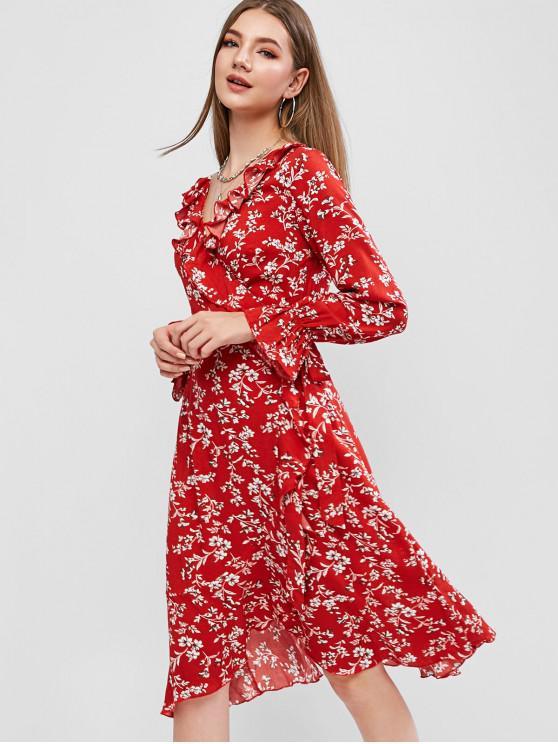 ZAFUL Floral Print Ruffles Wrap Dress BEAN RED