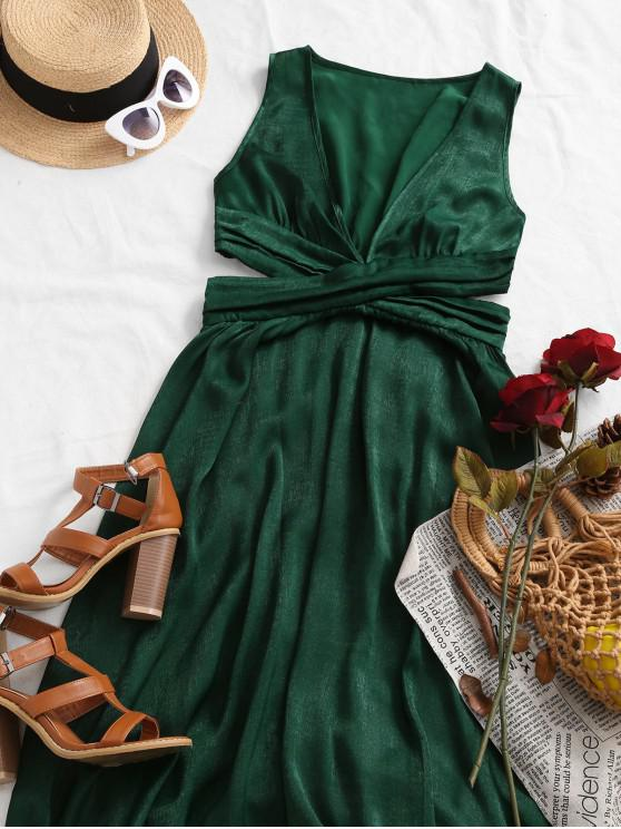 fancy ZAFUL Sleeveless Ruched Cut Out Shiny Maxi Dress - MEDIUM FOREST GREEN L