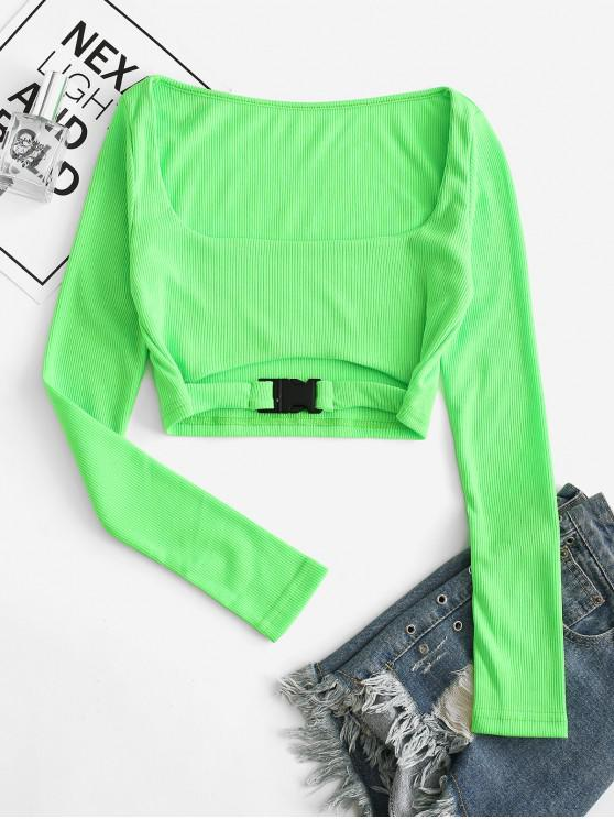 ladies Neon Push Buckle Cut Out Ribbed Tee - LAWN GREEN S
