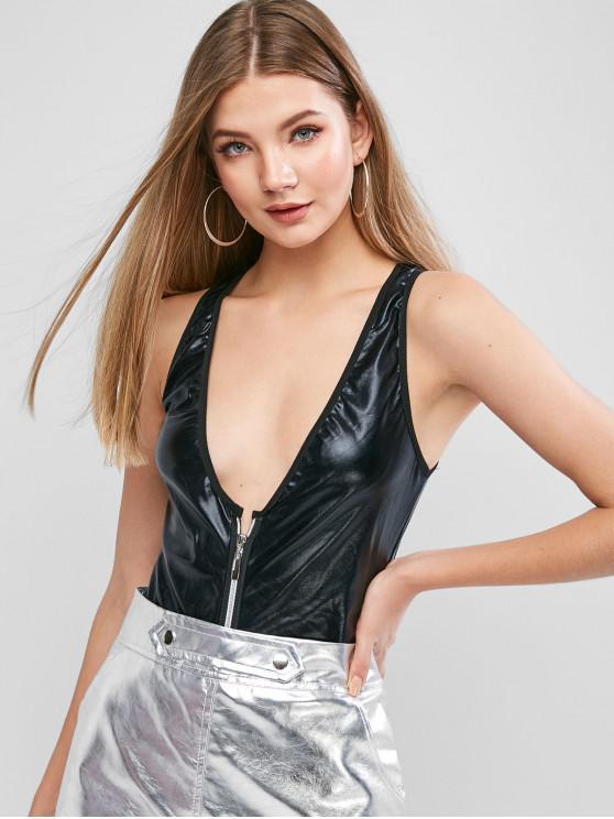 buy Faux Leather Zip Front Racerback Bodysuit - BLACK S