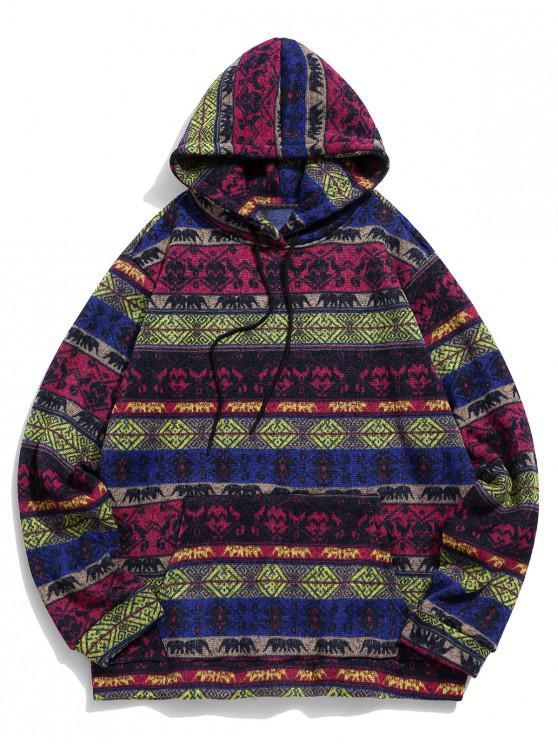 hot Tribal Print Kangaroo Pocket Hoodie - PLUM L