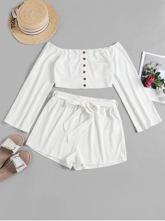 women's ZAFUL Off Shoulder Crop Belted Shorts Set - WHITE S