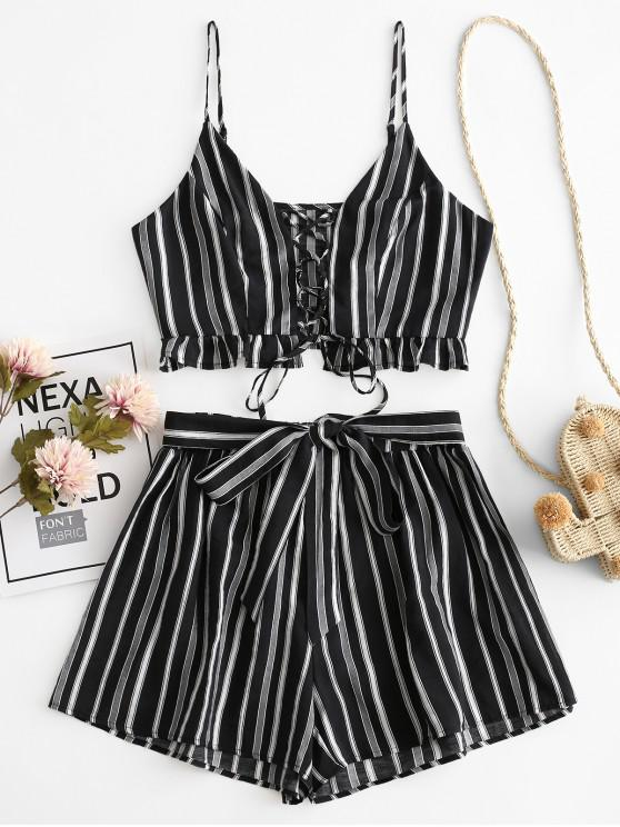 ladies ZAFUL Striped Lace Up Ruffle Belted Loose Shorts Set - BLACK M