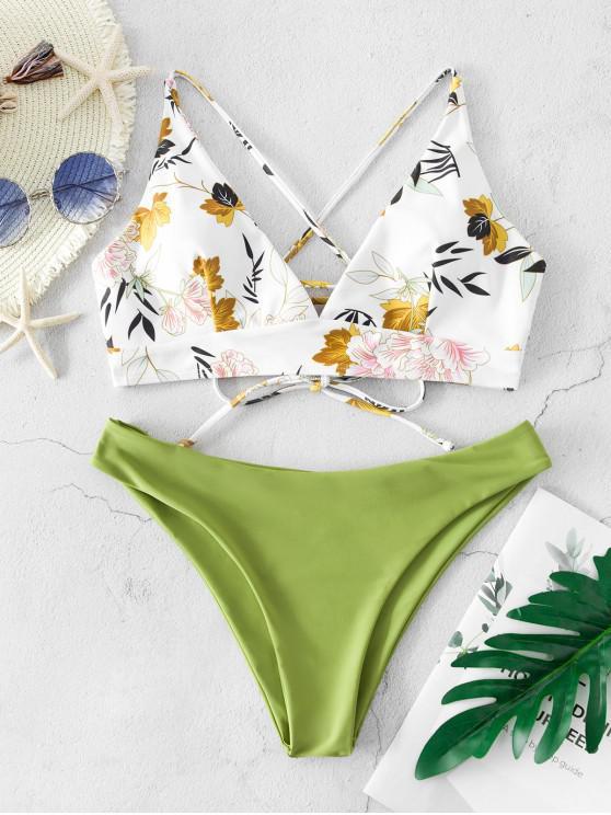 Costume da Bagno Incrociato Stampato a Foglie e Fiori con Lacci di ZAFUL - Verde chiaro S