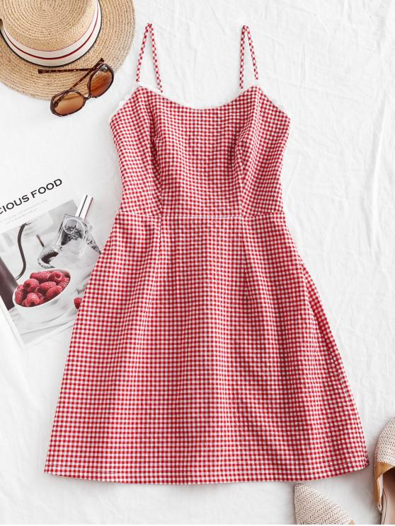 lady ZAFUL Smocked Back Lace Trim Gingham Cami Dress - LAVA RED M