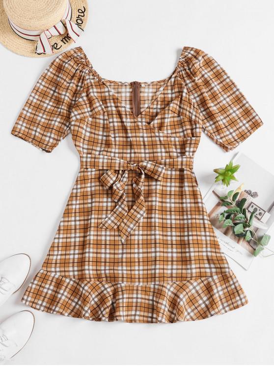 hot ZAFUL Plaid Belted V Neck Surplice Dress - MULTI-A M