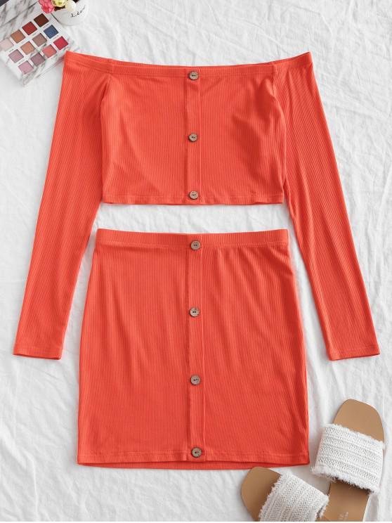 women's ZAFUL Buttons Off Shoulder Bodycon Two Piece Suit - ORANGE M