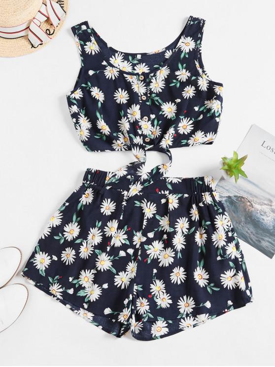 online ZAFUL Floral Button Up Tie Hem Wide Leg Shorts Set - LAPIS BLUE L