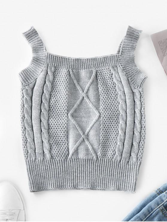 affordable ZAFUL Cable Knit Vest Sweater - GRAY CLOUD M