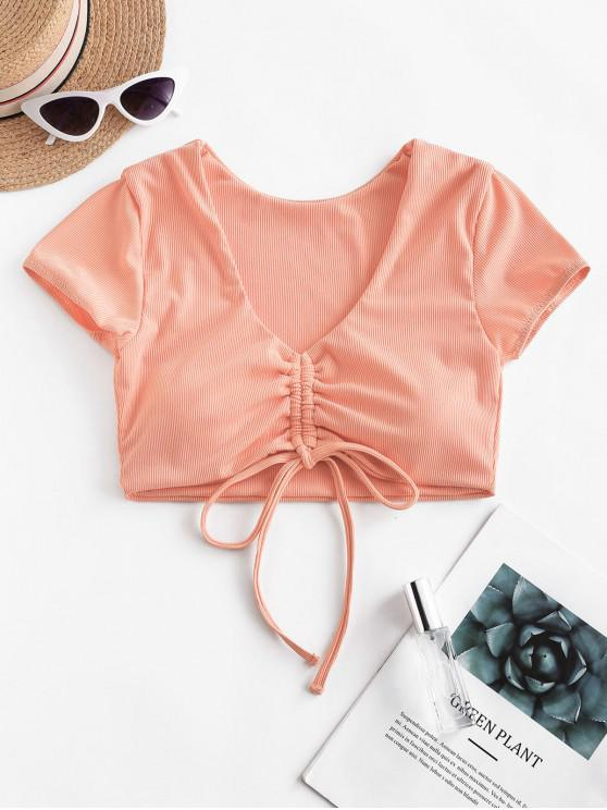 best ZAFUL Cinched Ribbed Swim Top - LIGHT SALMON S